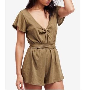 Free People green Shorts romper